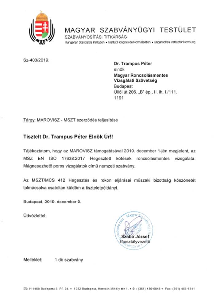 MSZ EN ISO 17638:2017 - már magyar nyelven is!